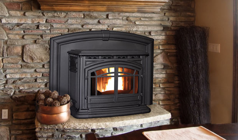 The M55 Cast Iron Pellet Fireplace Insert